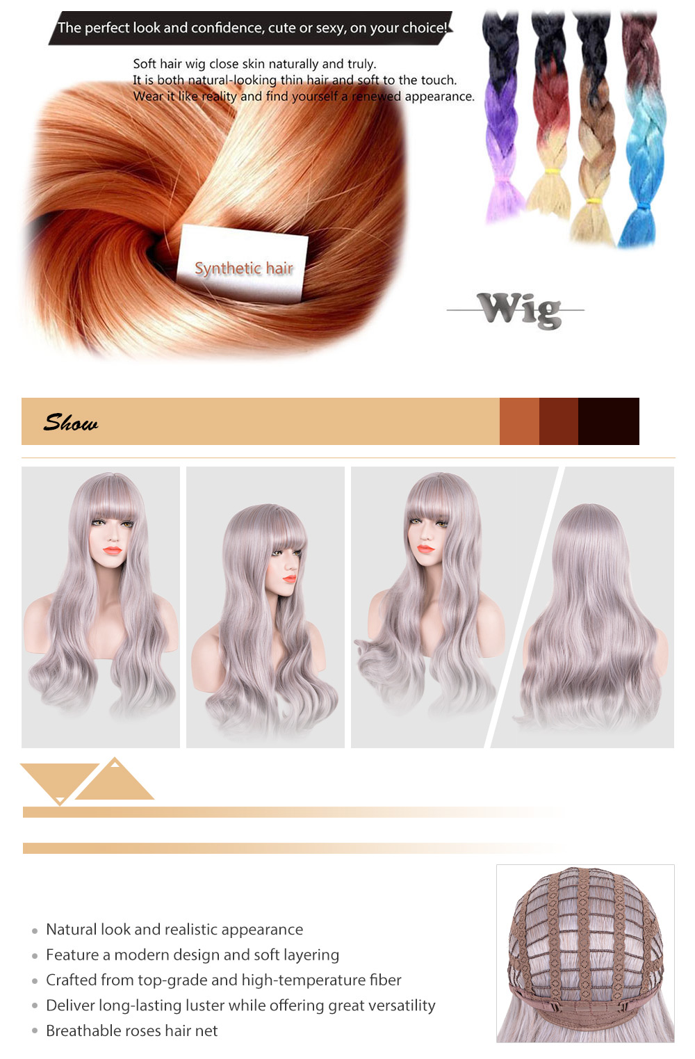 Women Soft Long Wavy Synthetic Hair Wigs with See-through Bangs
