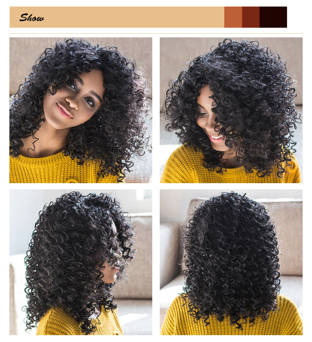 AISIHAIR Women Medium Side Bang Black Afro Curly Synthetic Hair Wig