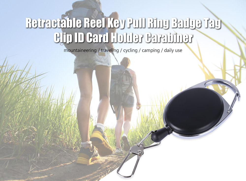 EDCGEAR 60CM Kirsite Retractable Reel Key Pull Ring Badge Tag Clip ID Card Holder with Carabiner