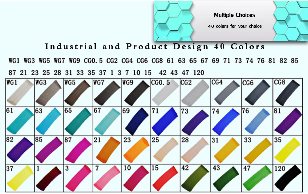 TouchFive 40 Colors Twin Tip Fine Broad Point Pen Marker for Product Designing