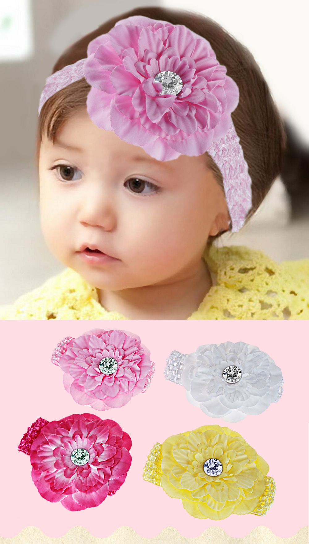 Fashion Knitted Flower Zircon Decoration Hairband for Babies