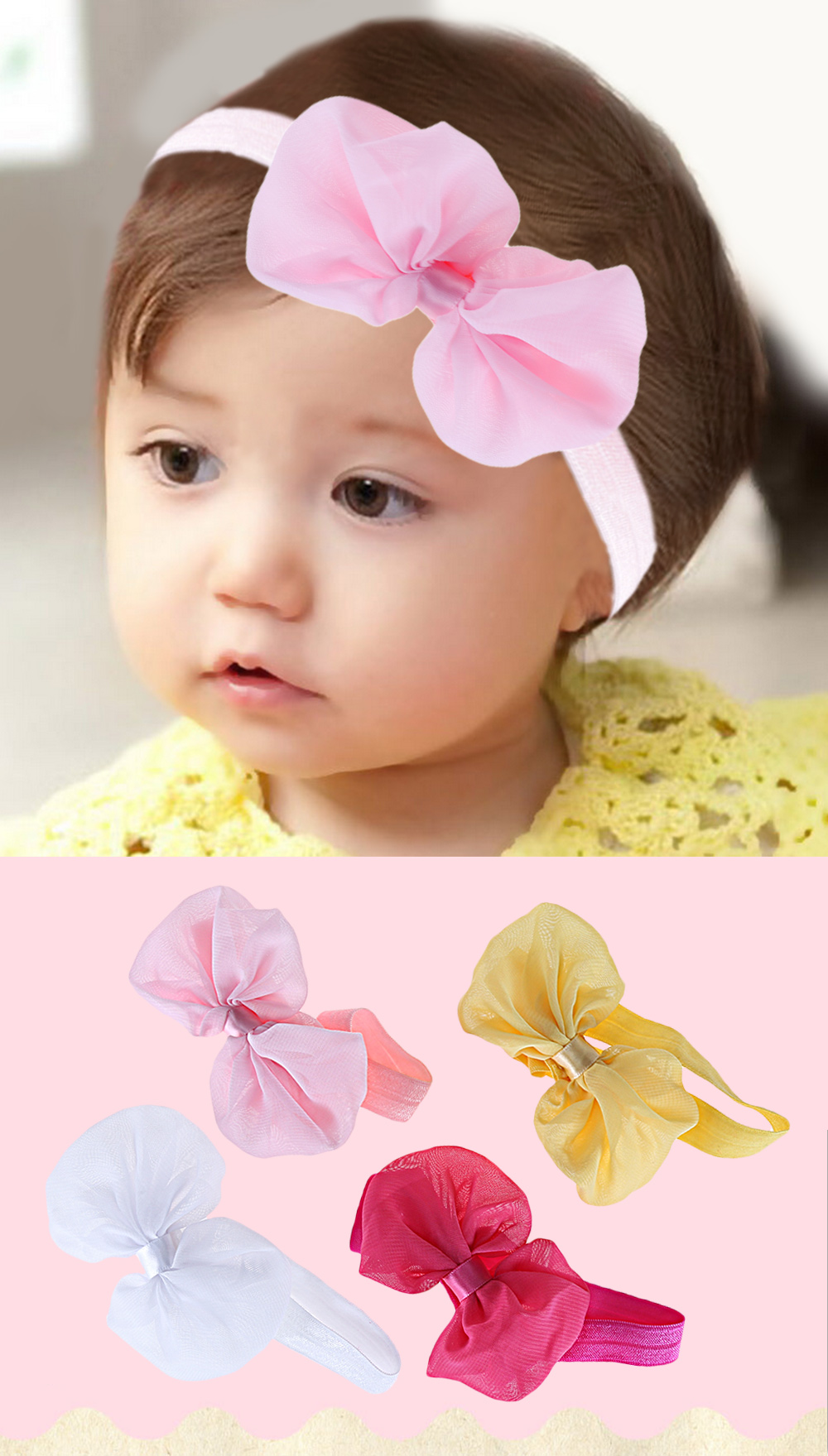 Fashion Bow Tie Decoration Pure Color Chiffon Babies Hairband