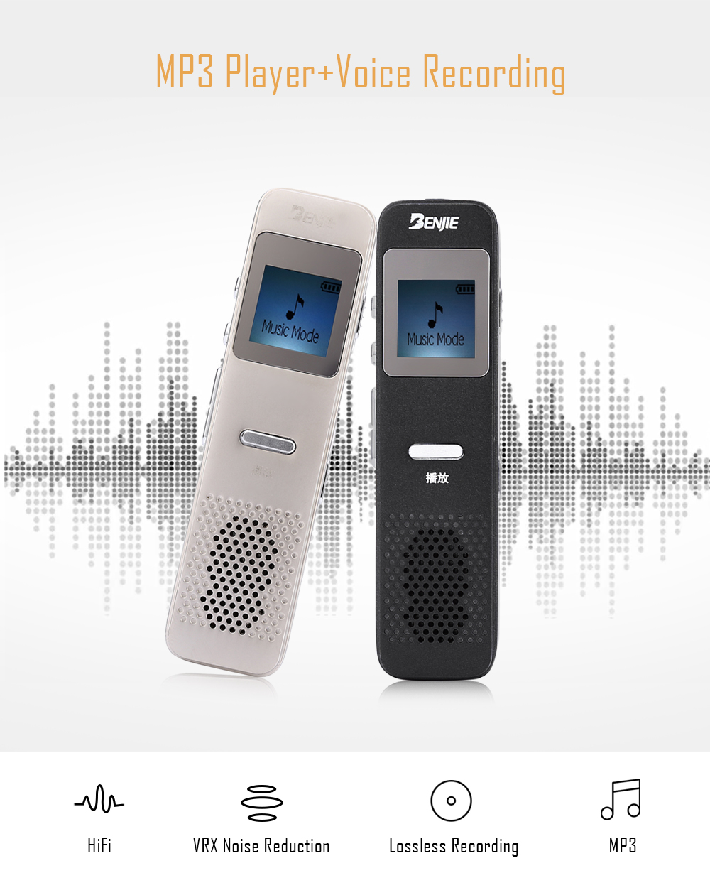 BENJIE S6 1 inch MP3 Music Player Voice Recorder