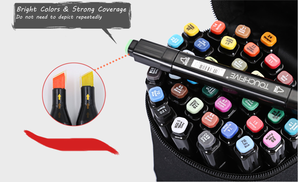 TouchFive 40 Colors Twin Tip Fine Broad Point Pen Marker for Animation Designing