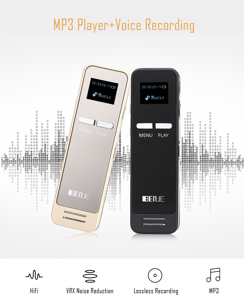 BENJIE S - ONE 8G Internal 0.96 inch External Speaker MP3 Player Voice Recorder