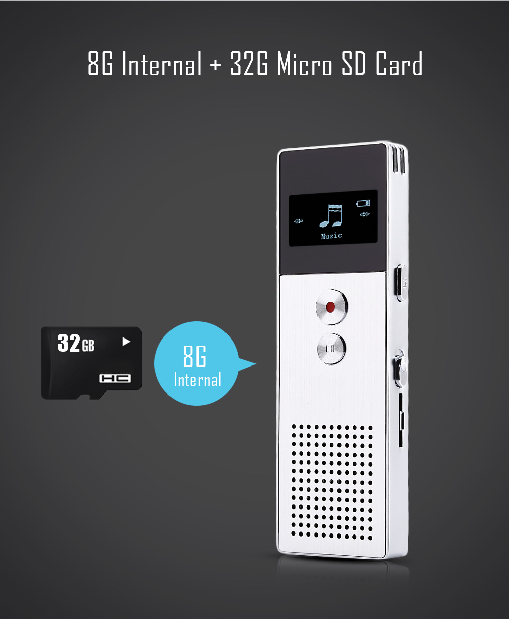 BENJIE C6 0.96 inch 8GB Internal MP3 Music Player Voice Recorder