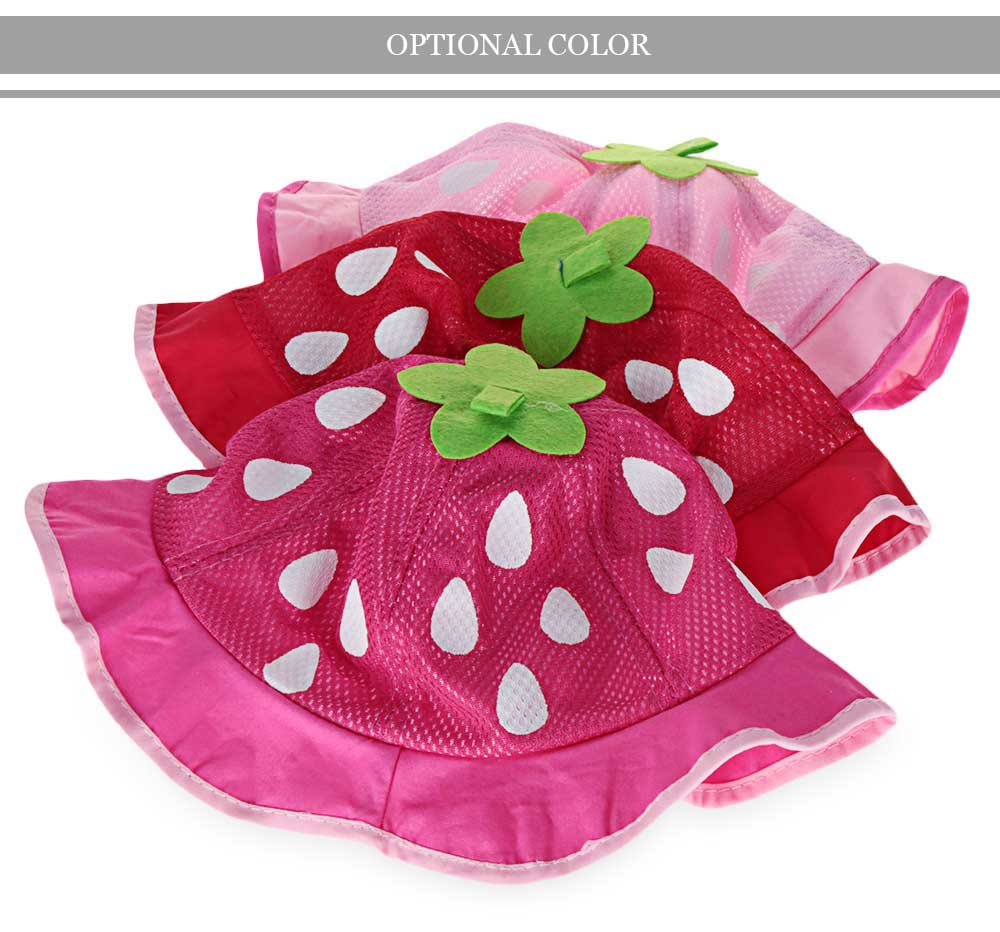 Spring Autumn Sweet Strawberry Design Sun Protection Princess Hat for Baby Girls