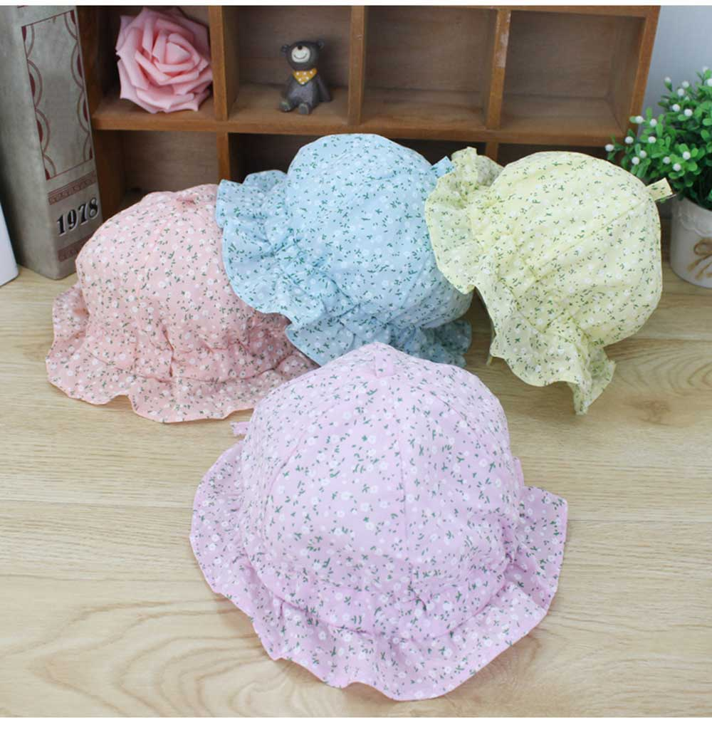 Spring Autumn Floral Print Sun Protection Hat for Baby Girls