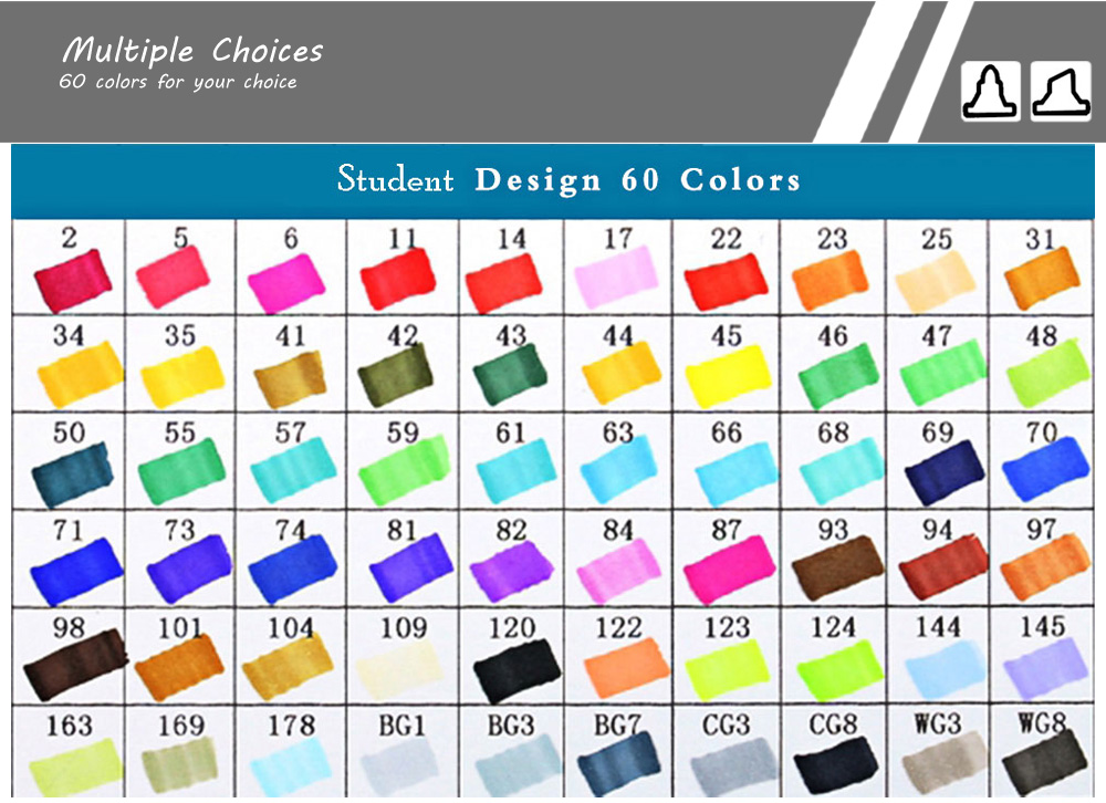 TouchFive 60 Colors Twin Tip Fine Broad Point Pen Marker for Student Designing