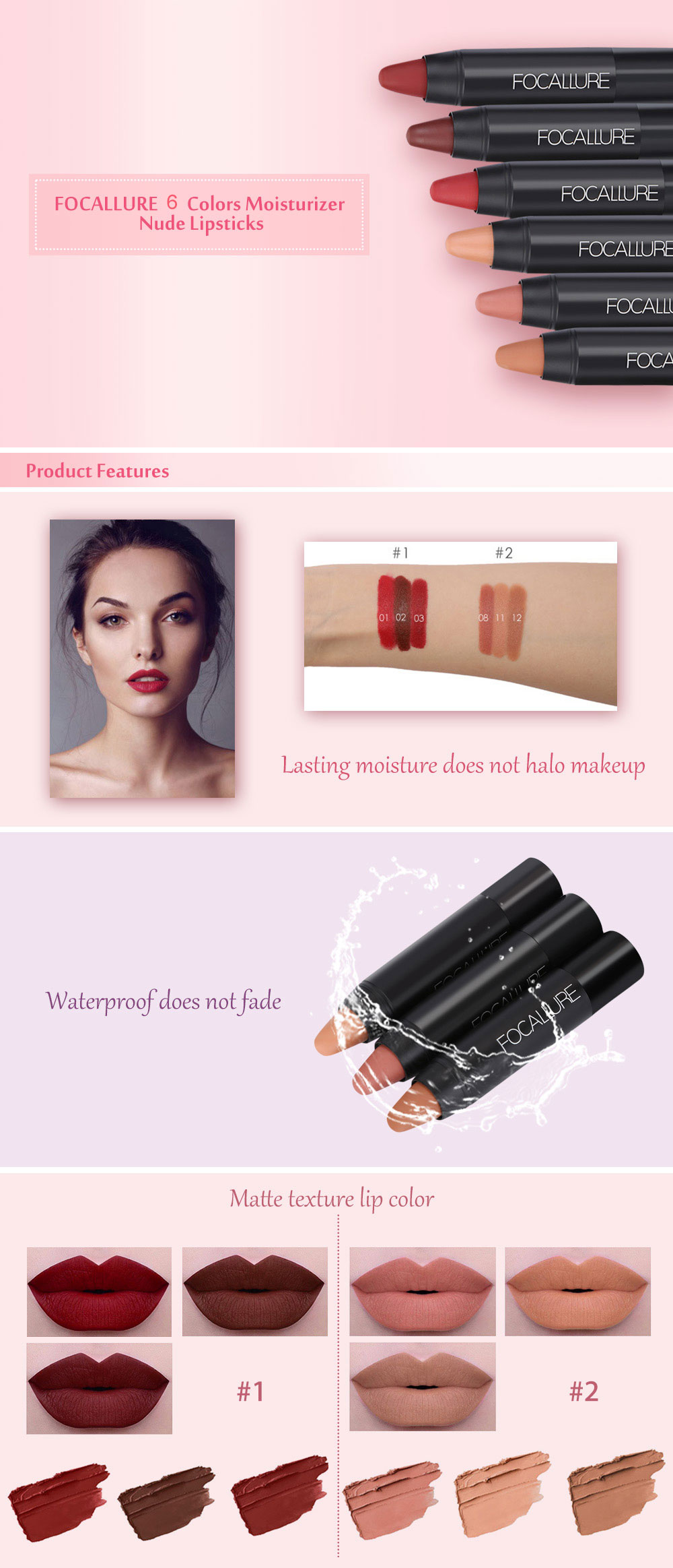 FOCALLURE 3 Colors Waterproof Long-lasting Moisturizer Nude Lipsticks