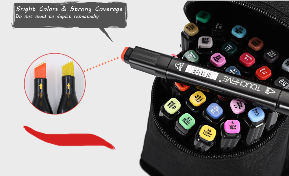 TouchFive 30 Colors Twin Tip Fine Broad Point Pen Marker for Animation Designing