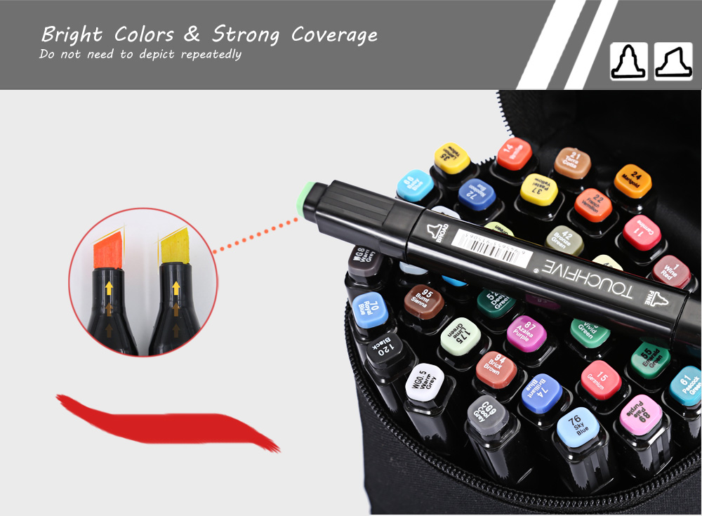 TouchFive 40 Colors Twin Tip Fine Broad Point Pen Marker for Student Designing