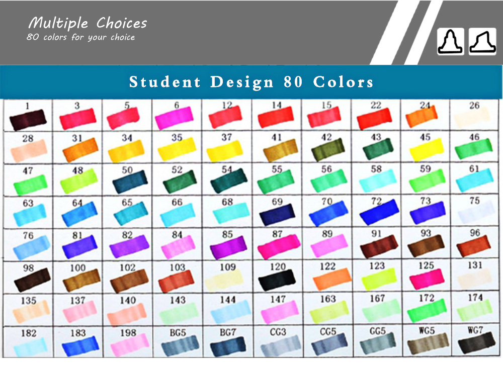TouchFive 80 Colors Twin Tip Fine Broad Point Pen Marker for Student Designing