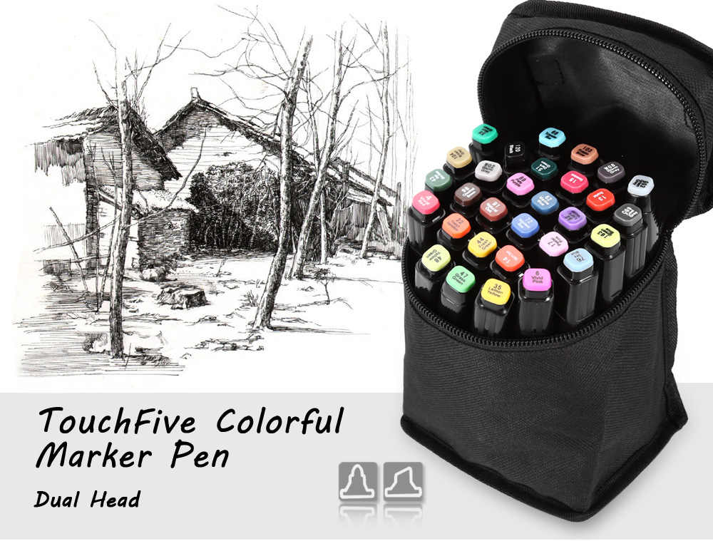 TouchFive 30 Colors Twin Tip Fine Broad Point Pen Marker for Landscape Designing