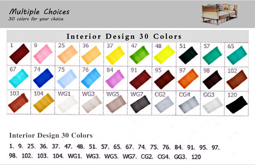 TouchFive 30 Colors Twin Tip Fine Broad Point Pen Marker for Interior Designing