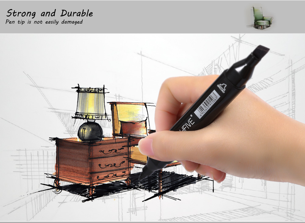 TouchFive 60 Colors Twin Tip Fine Broad Point Pen Marker for Interior Designing