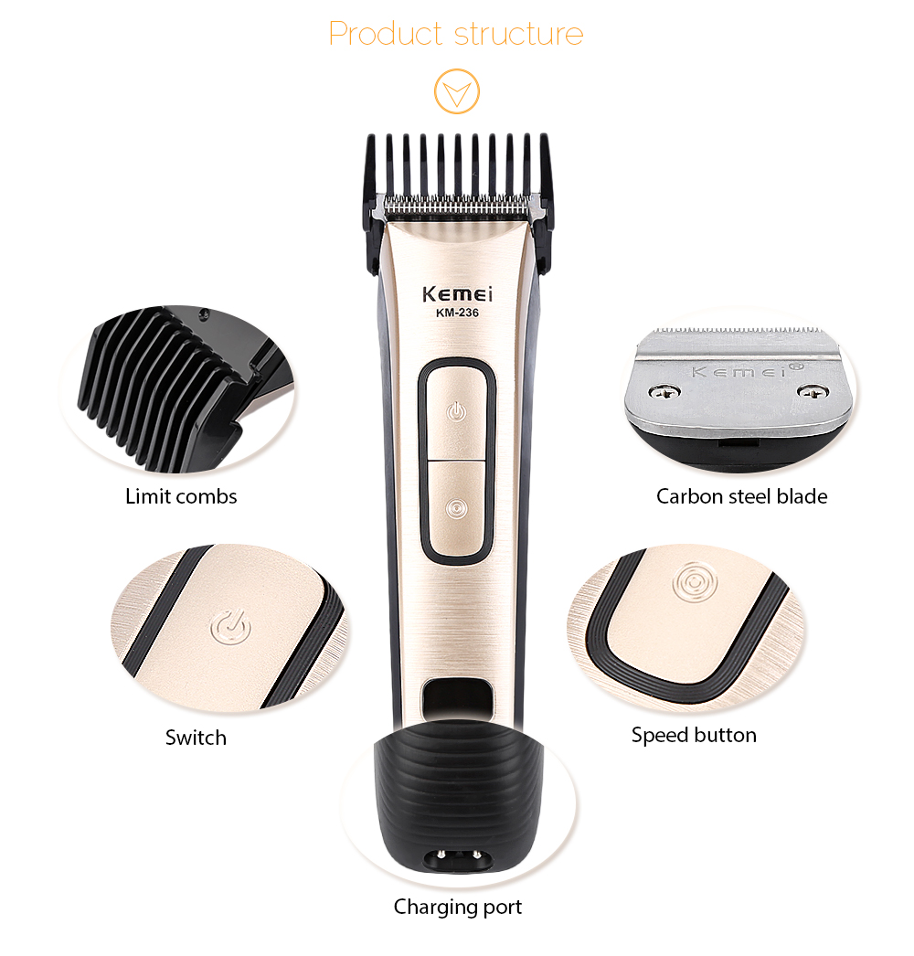 Kemei KM - 236 Rechargeable Universal Voltage Electric Hair Trimmer Clipper