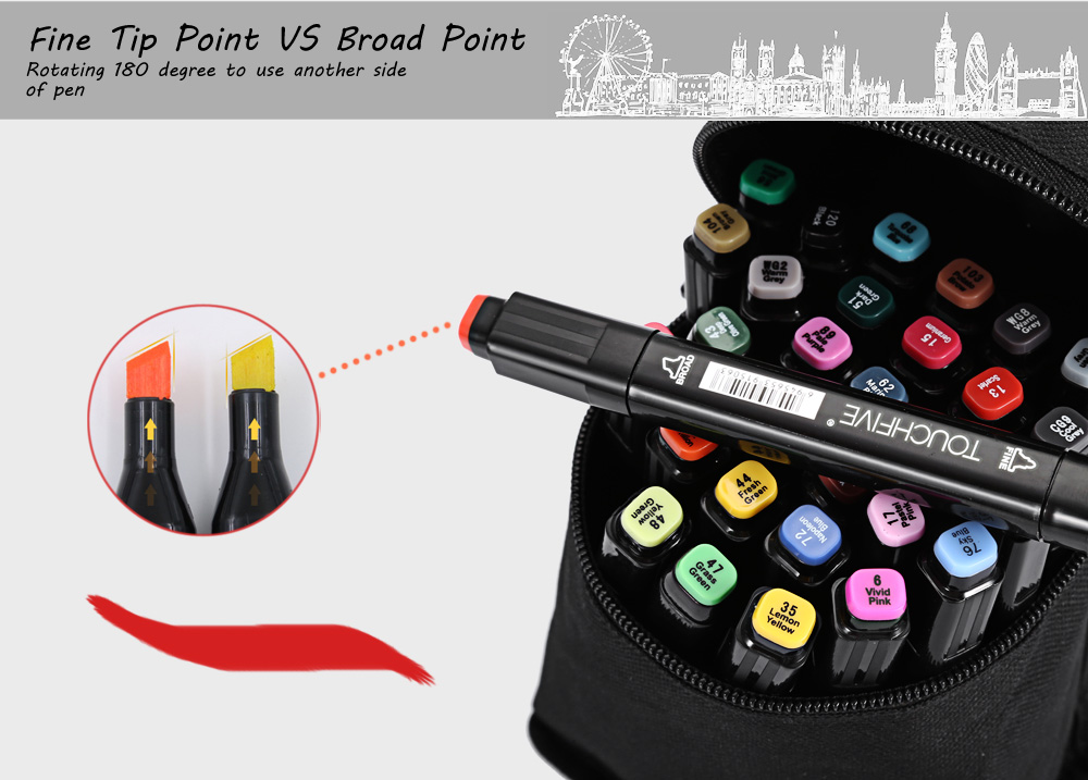 TouchFive 30 Colors Twin Tip Fine Broad Point Pen Marker for Architectural Designing