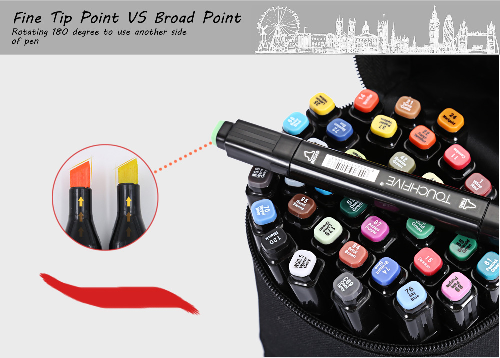 TouchFive 40 Colors Twin Tip Fine Broad Point Pen Marker for Architectural Designing