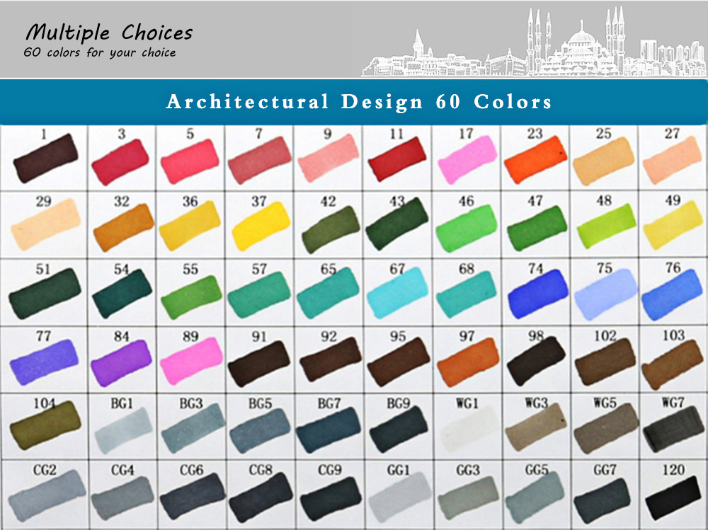 TouchFive 60 Colors Twin Tip Fine Broad Point Pen Marker for Architectural Designing