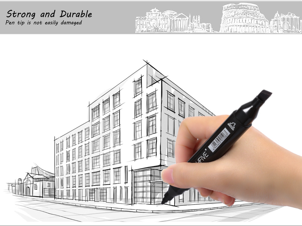 TouchFive 80 Colors Twin Tip Fine Broad Point Pen Marker for Architectural Designing