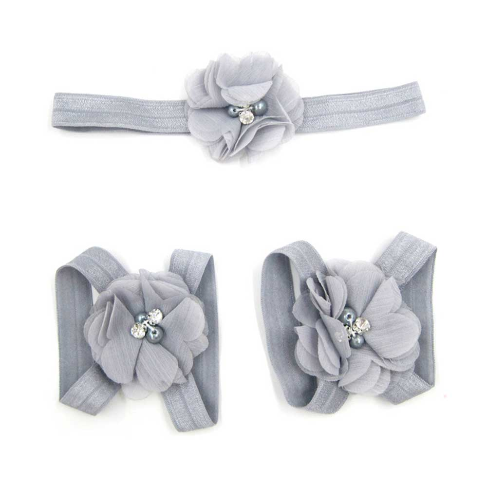Sweet Floral Rhinestone Design Elastic Band Hand Foot Flower Set for Baby Girls