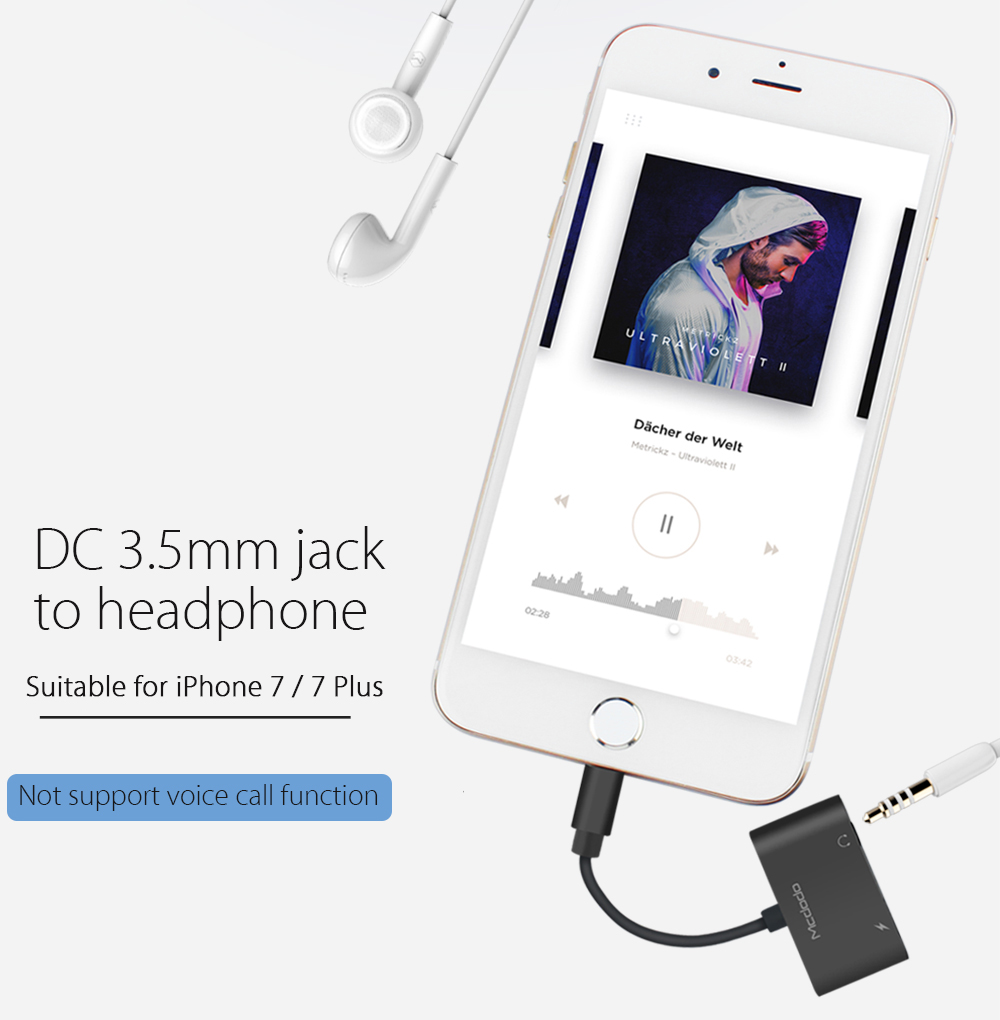 Mcdodo CA - 382 8 Pin to DC 3.5mm Jack Earphone Adapter Cable for iPhone 7 / 7 Plus