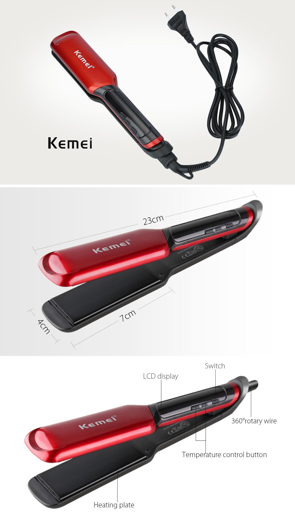 Kemei KM - 9620 Styling Tool Thermostat LCD Digital Hair Curler Straightener