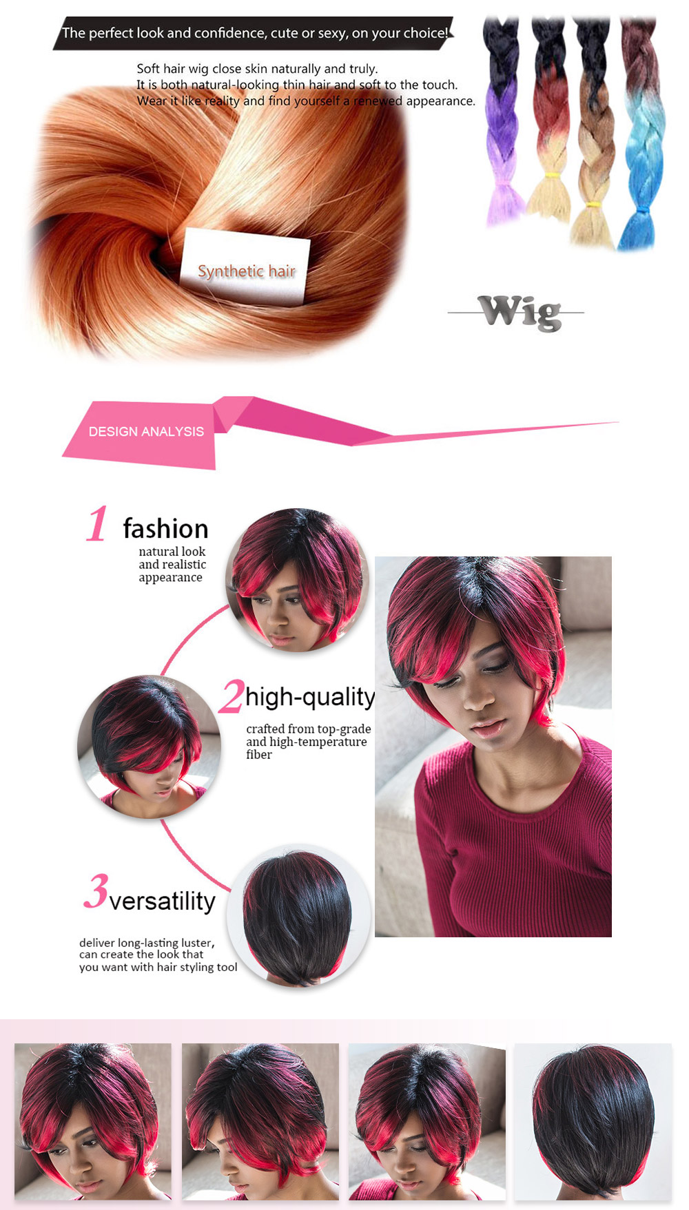 AISIHAIR Short Straight Side Bangs Gradient Black Red Synthetic Wigs for Women