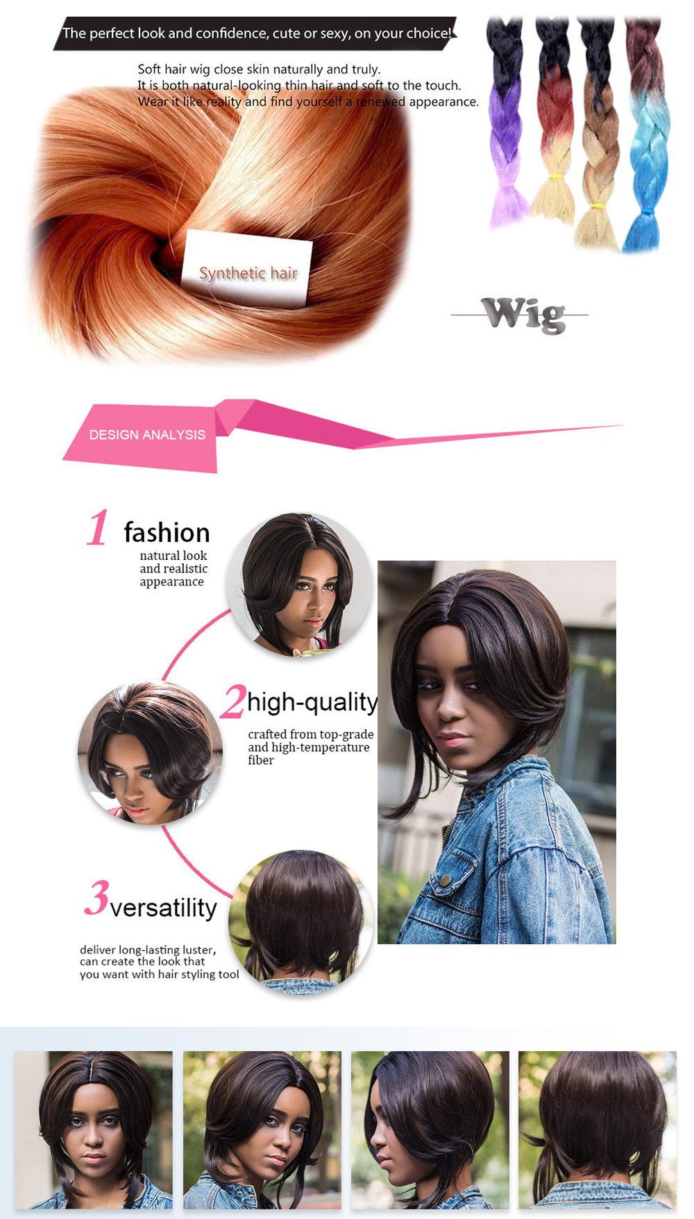 AISIHAIR Charming Natural Straight Middle Parting Short Synthetic Black Wigs for Women