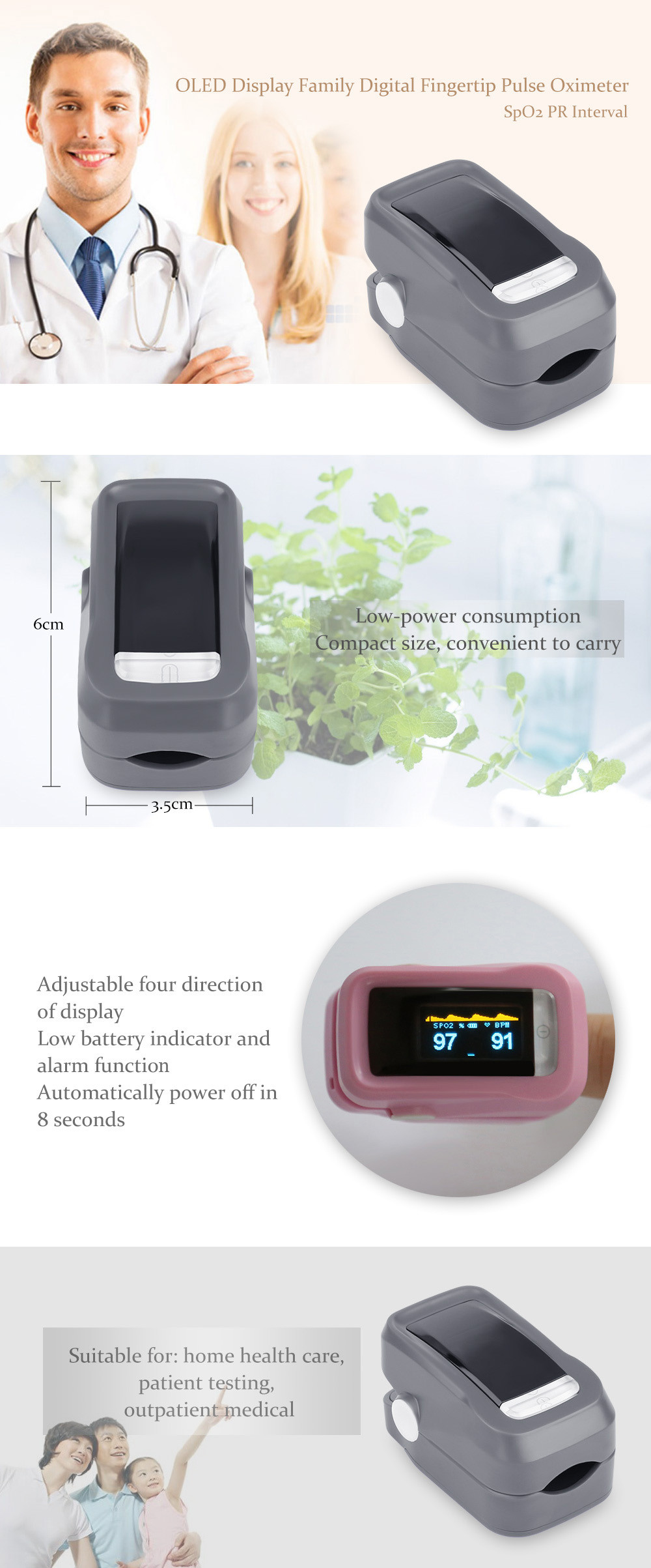 OLED Display Digital Fingertip Pulse Oximeter SpO2 PR Interval