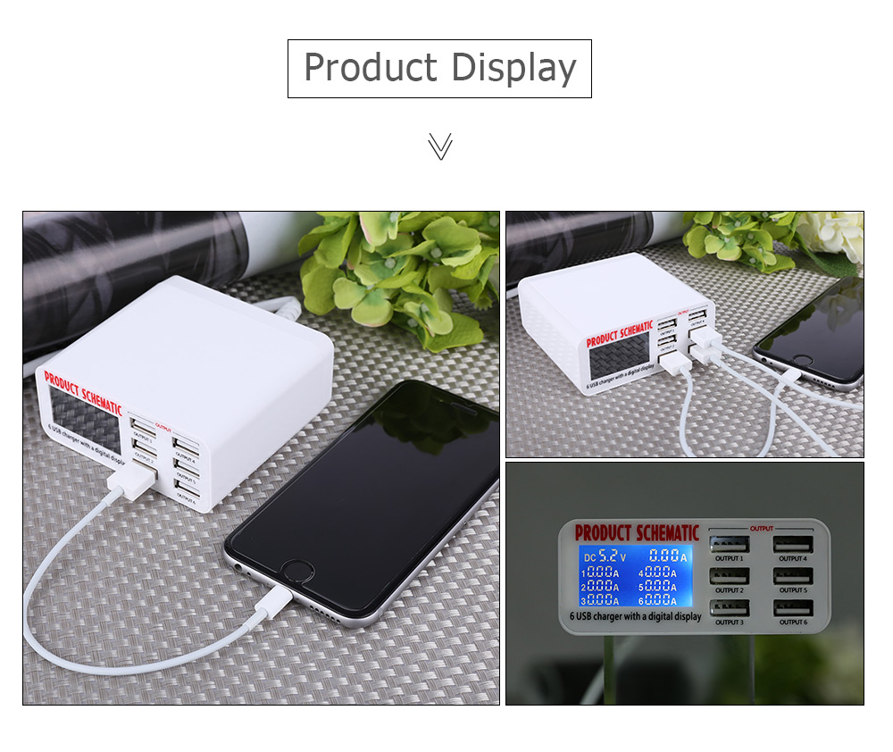 6 USB Port Charger with Intelligent Digital Display Travel Power Adapter