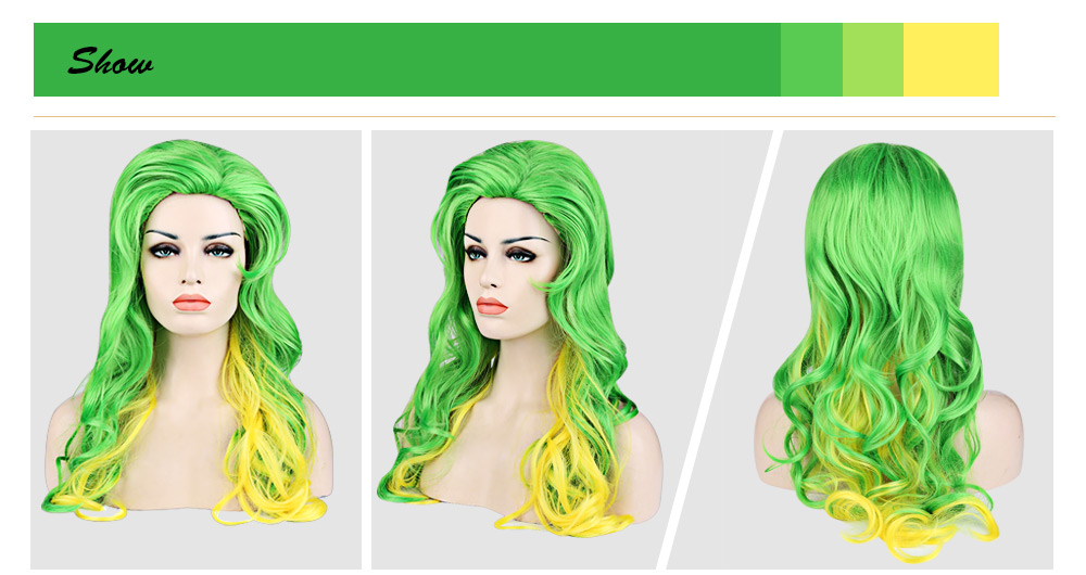 Loose Wavy Mixed Green Yellow Slicked Back Wigs Synthetic Hair Cosplay Party