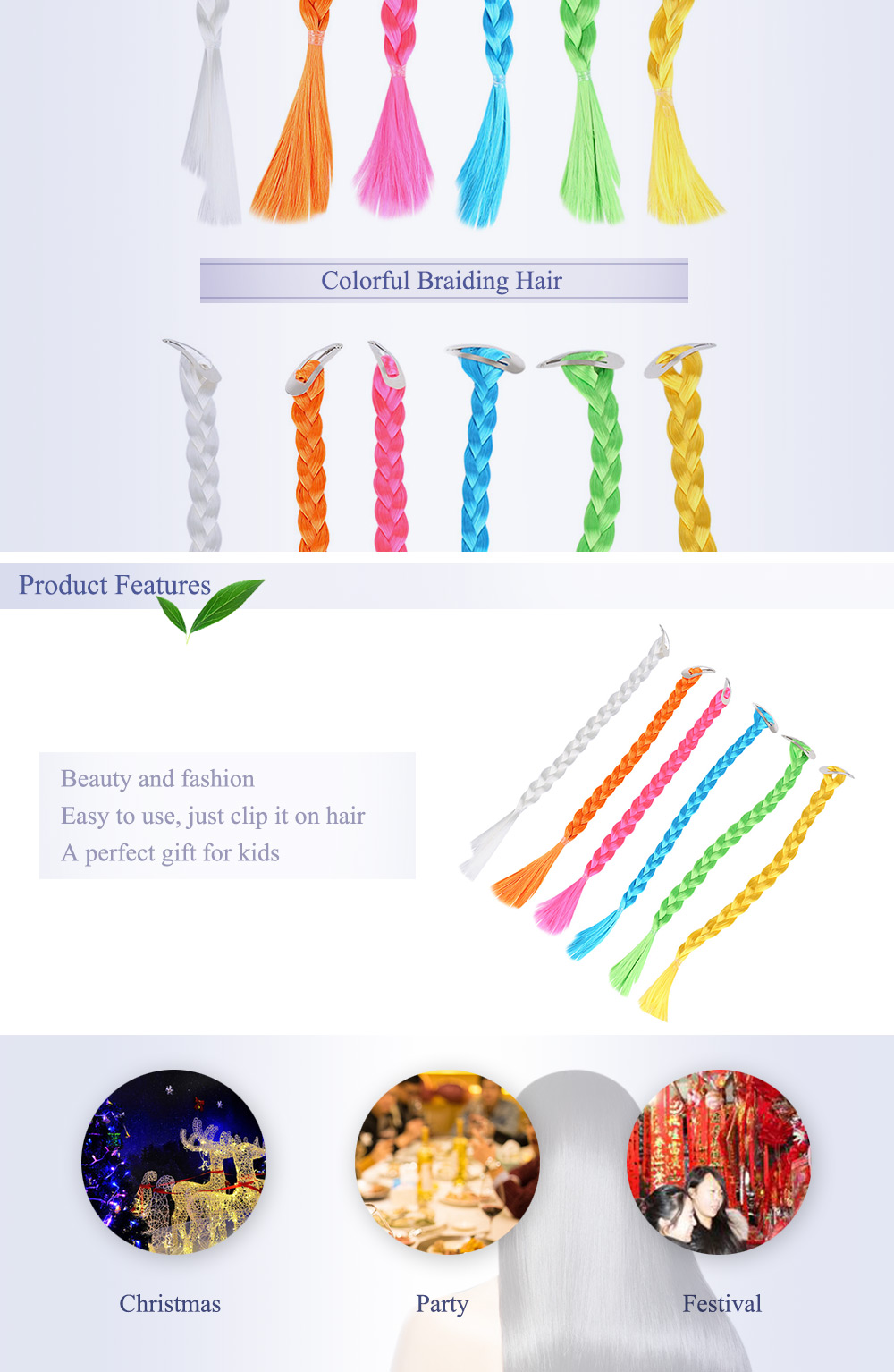 1pc Synthetic Braiding Hair Colorful Ponytail Wig with Hairpin Christmas Cosplay Party