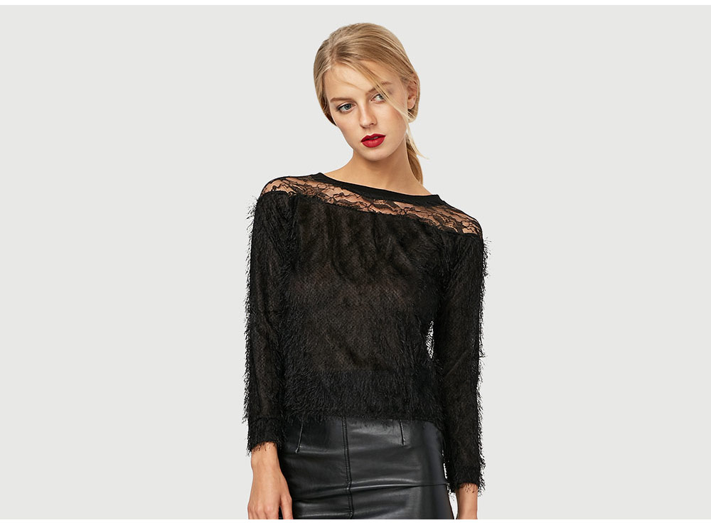 Fashion Round Collar Long Sleeve Lace Spliced Pure Color Women Blouse