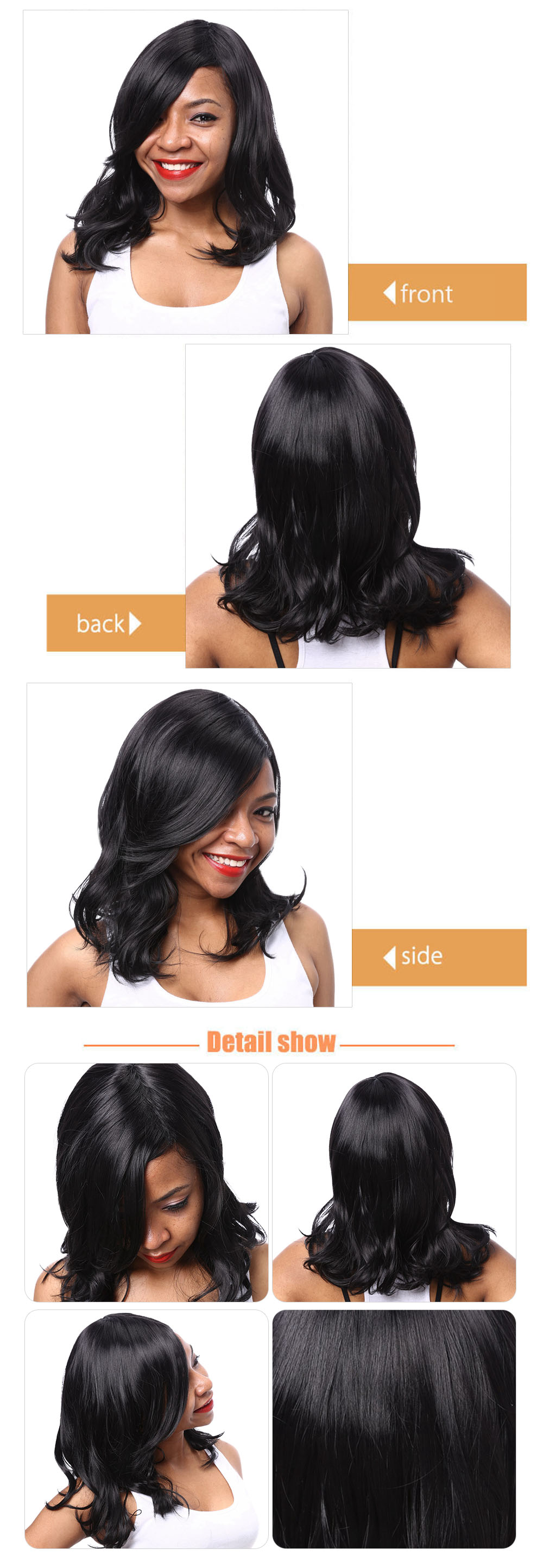 AISIHAIR Medium Lob Side Bangs Slightly Curly Synthetic Black Wigs for Women
