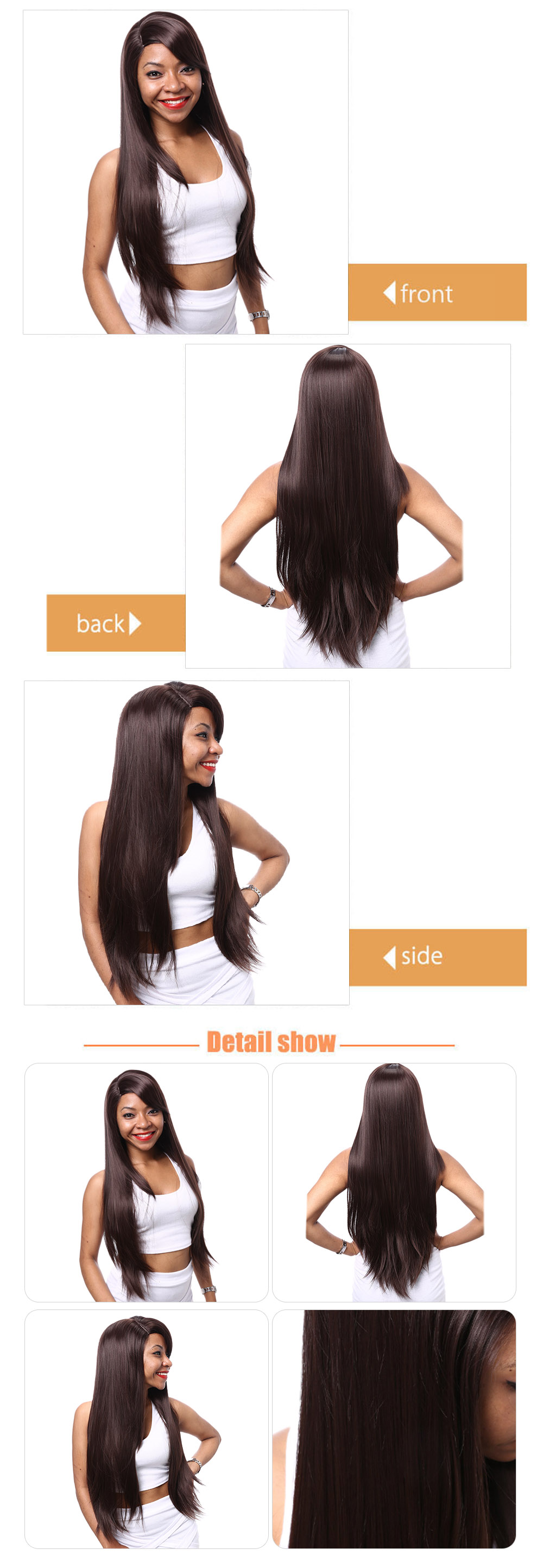 AISIHAIR Long Natural Straight Side Bangs Deep Brown Synthetic Wigs