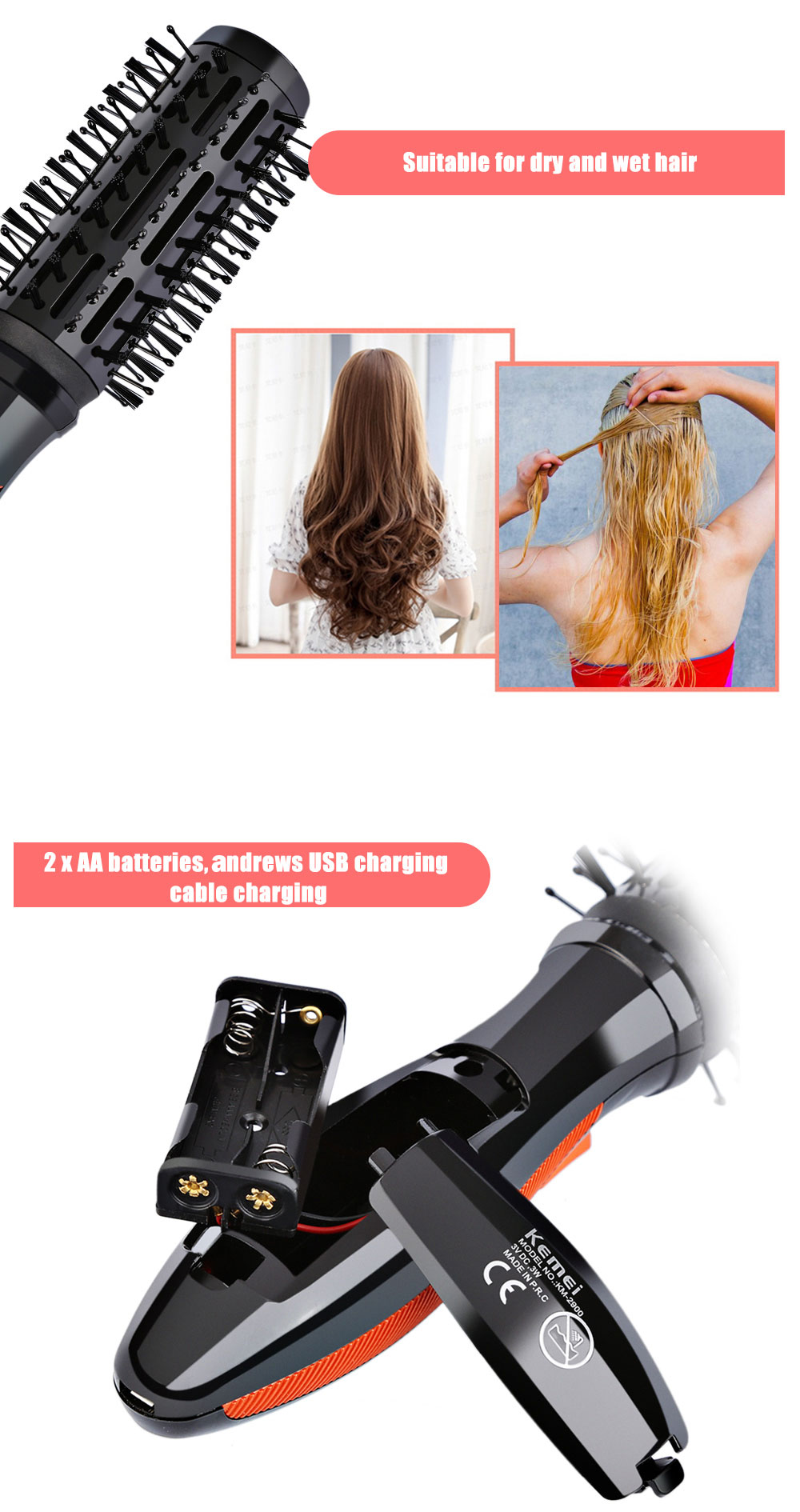 Kemei KM - 2900 Electric Curling Dual-use Rotatable Massage Comb