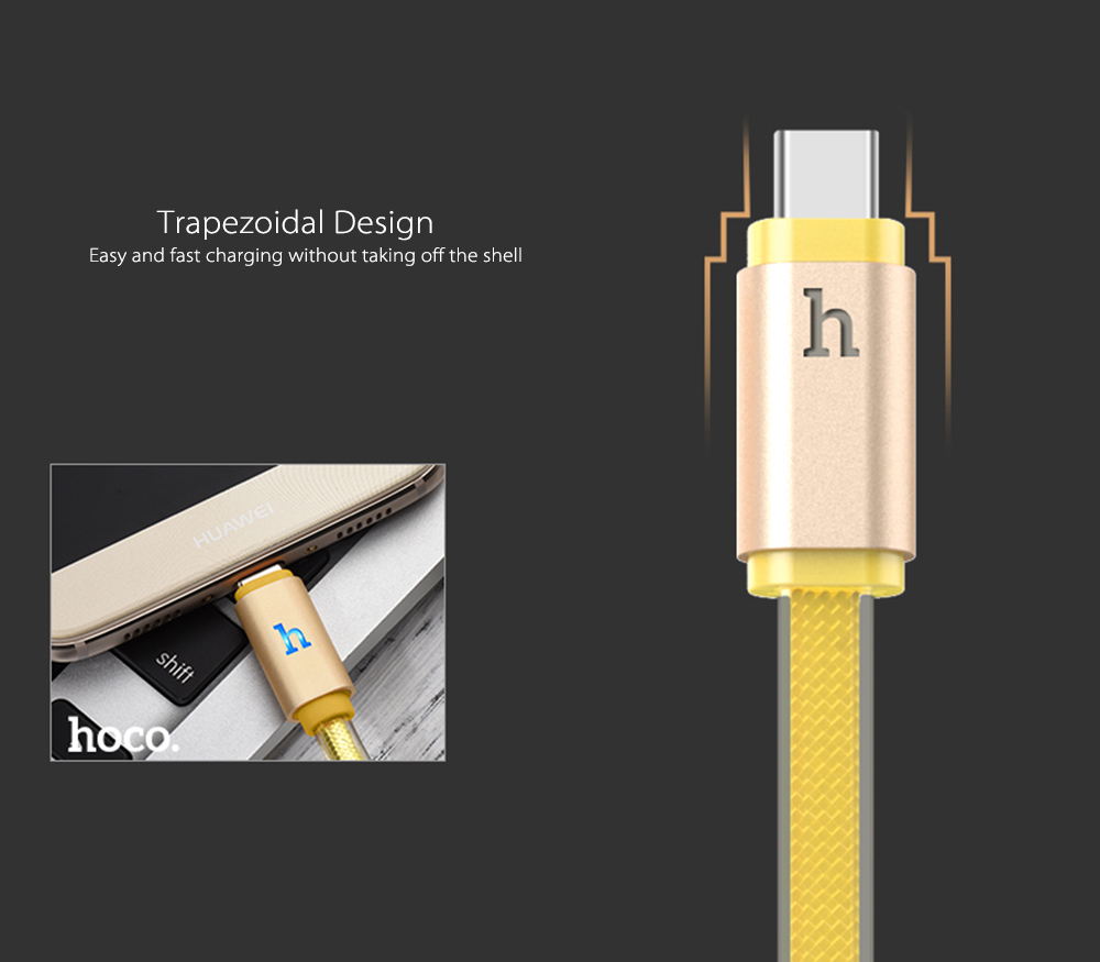 HOCO UPL12 2.4A Aluminum Alloy Jelly Texture Type-C Braided Cable with Light 1.2M