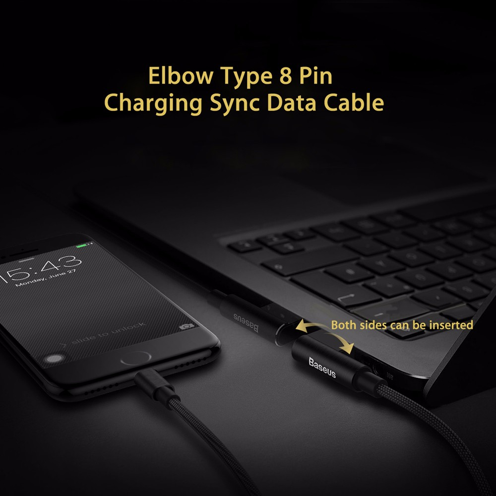 Baseus Yart Elbow Type 8 Pin Data Charging Cord for iPhone 1M