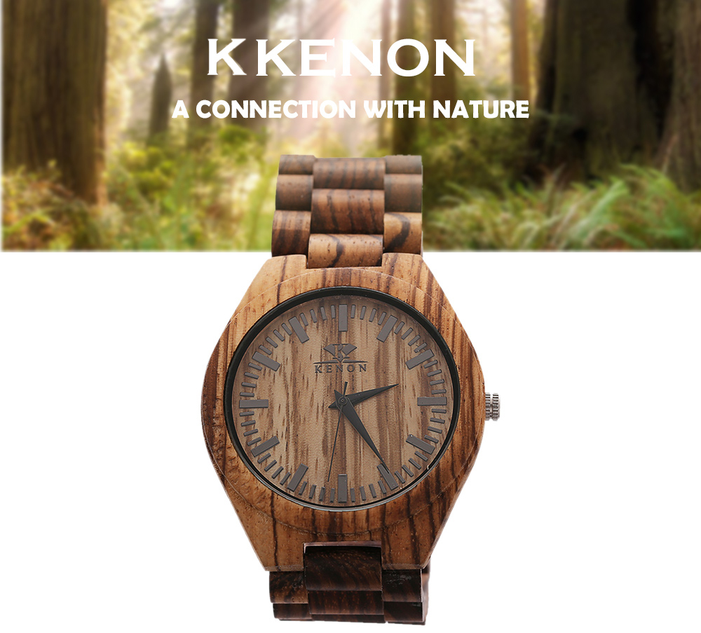 K KENON Male Quartz Watch Wooden Case Band Japan Movt Wristwatch