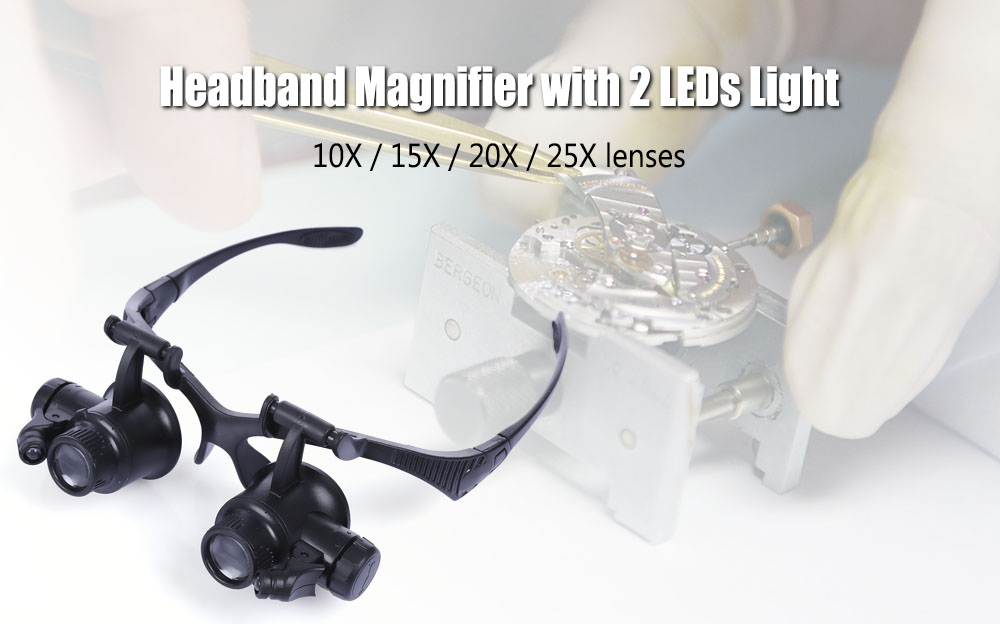Multifunctional 10X 15X 20X 25X Watch Repairing Magnifier with LED Double Eye Lens Jeweler Repair Tool