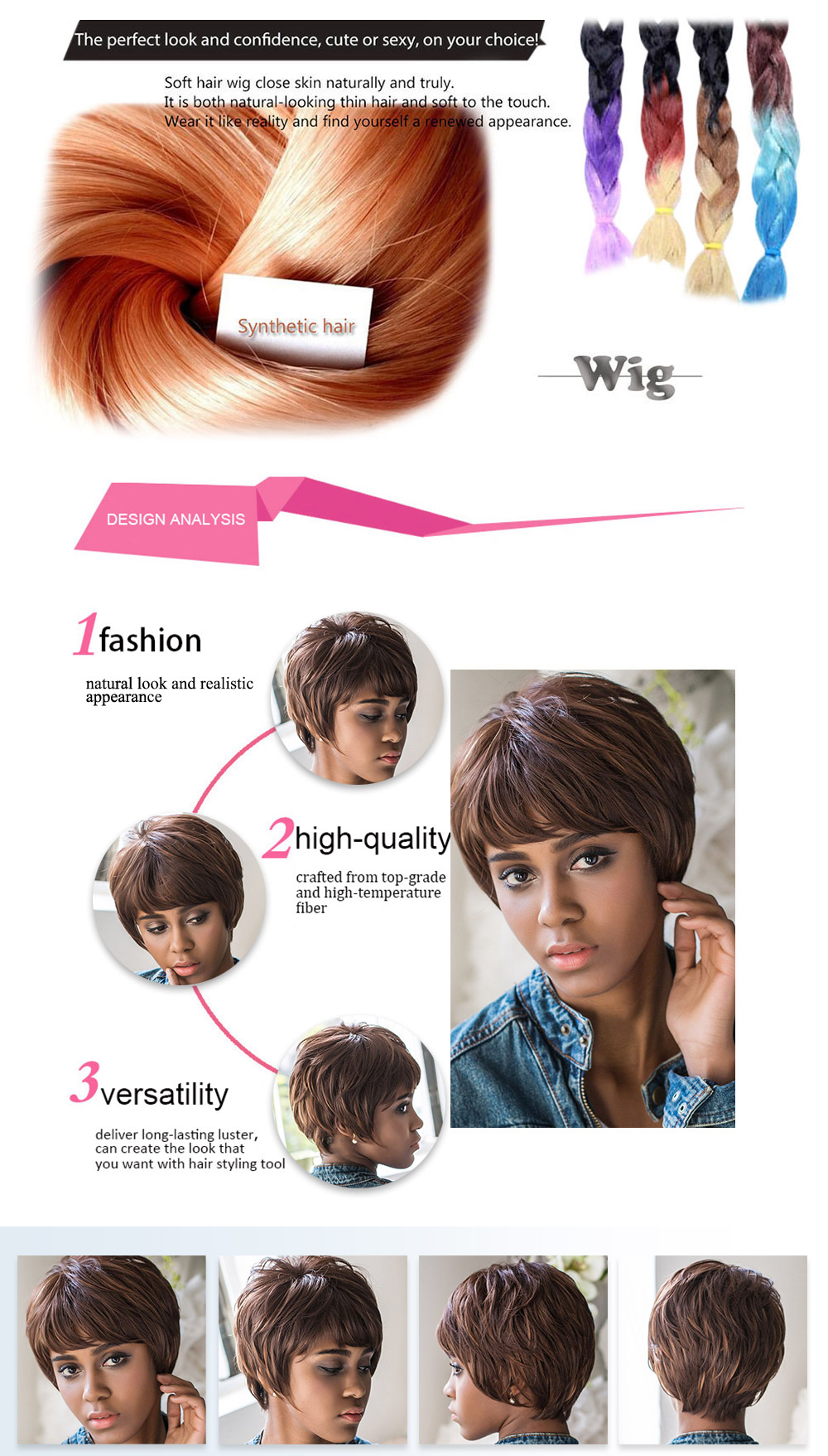 AISIHAIR Short Side Bangs Straight Mixed Color Synthetic Wigs
