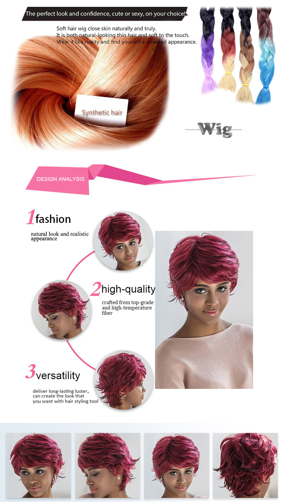 AISIHAIR Women Short Loose Curly Wine Red Side Bangs Synthetic Wigs Natural Dyeing Hair Style