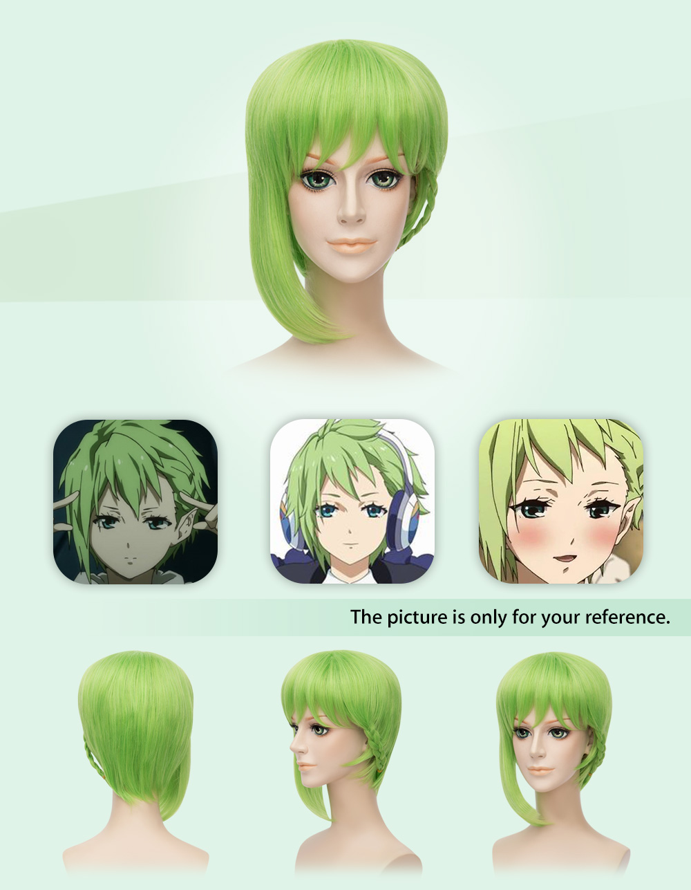 Short Green Full Wig with Braid Cosplay for Macross Reina Prowler Figure
