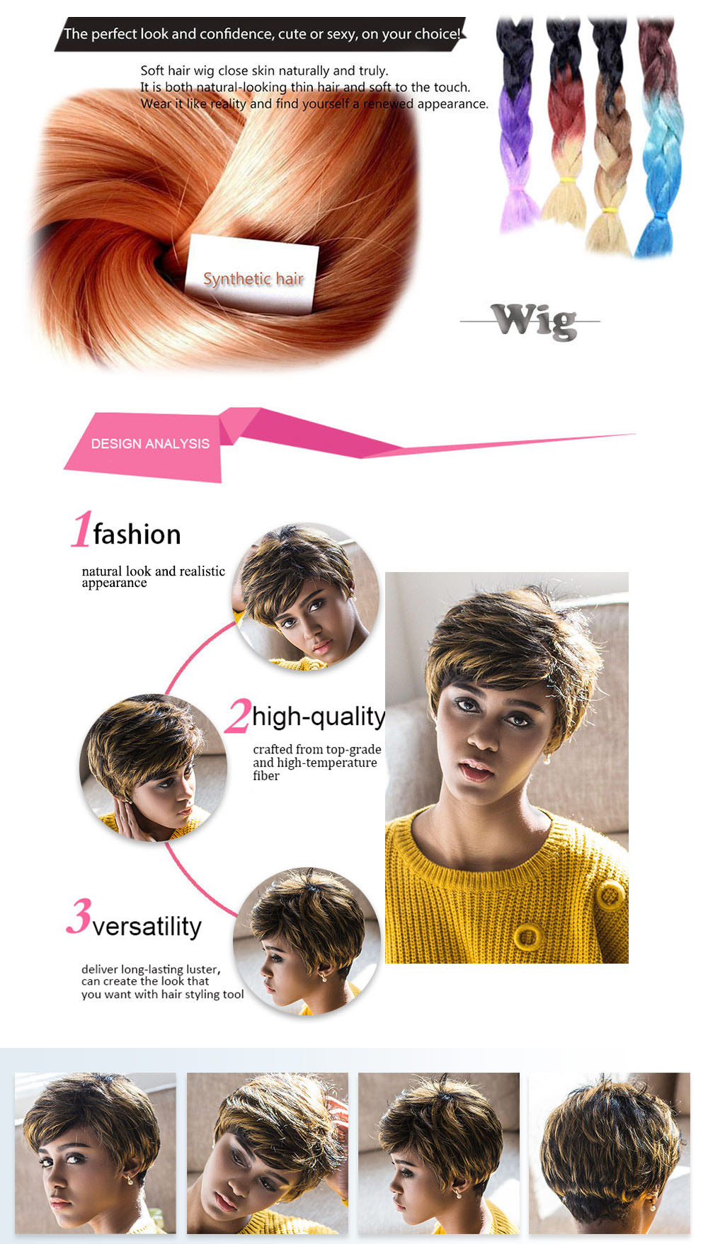AISIHAIR Women Short Natural Straight Side Bangs Mixed Black Blonde Synthetic Wigs