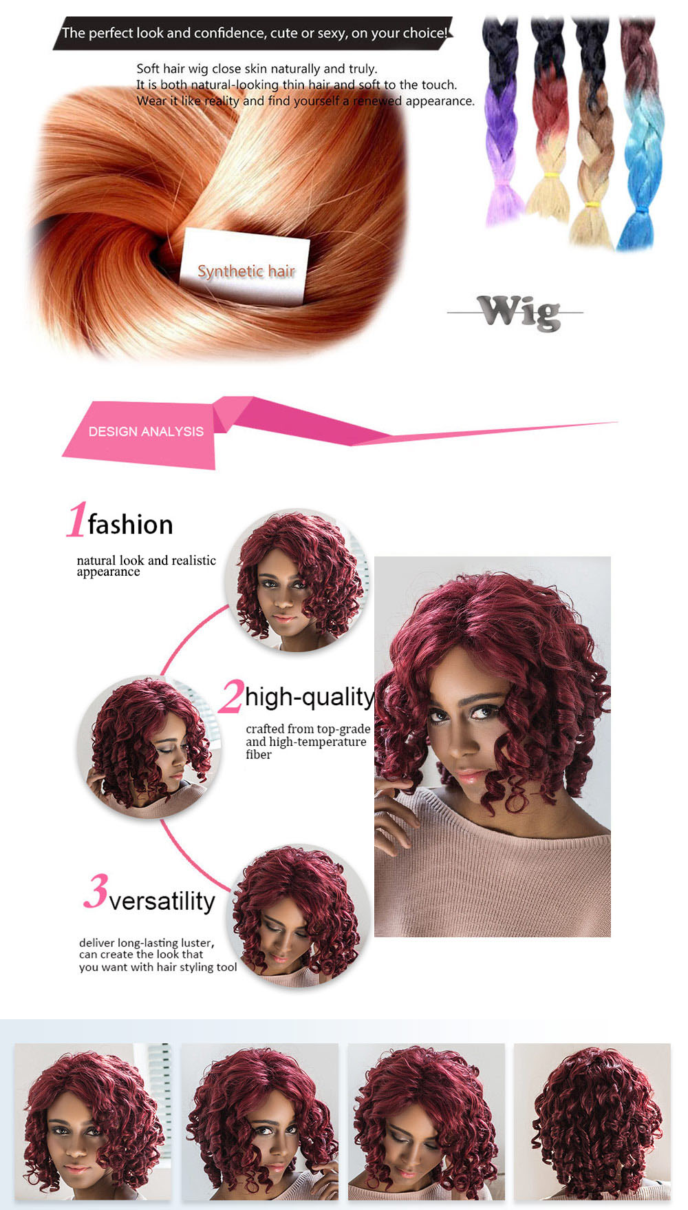 AISIHAIR Women Medium Curly Wine Red Side Bangs Synthetic Wigs Natural Dyeing Hair Style