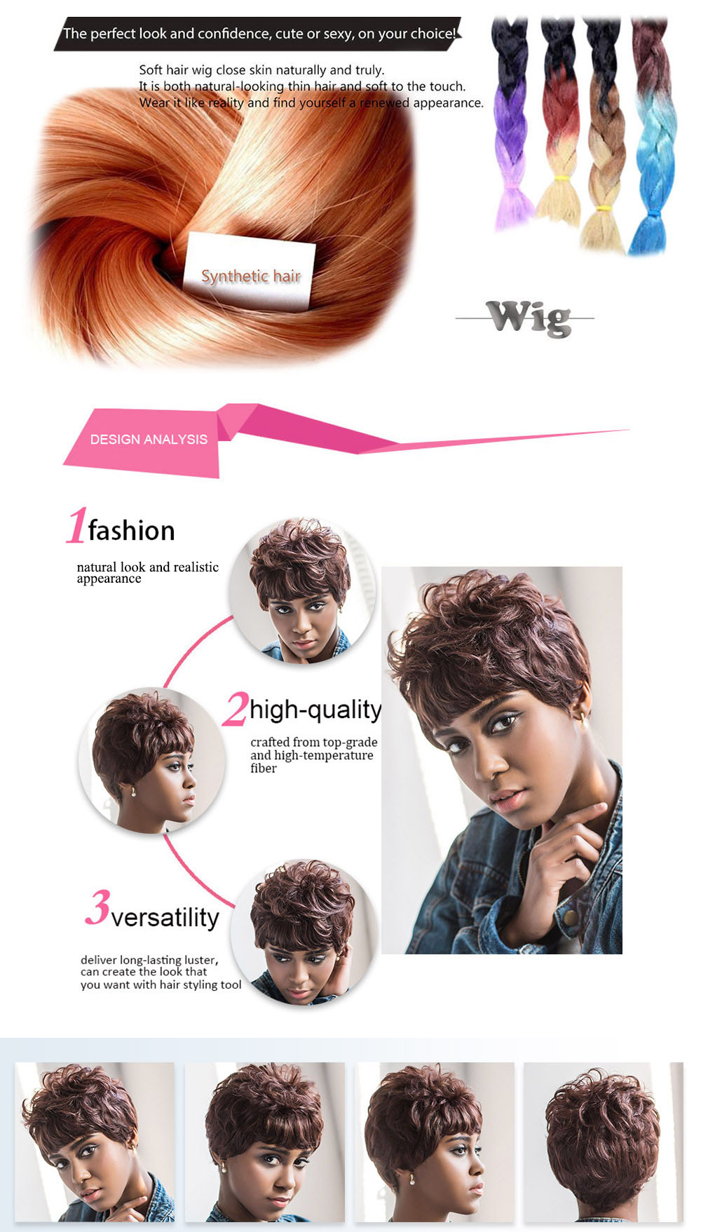 AISIHAIR Short Curly Full Bangs Brown Synthetic Wigs