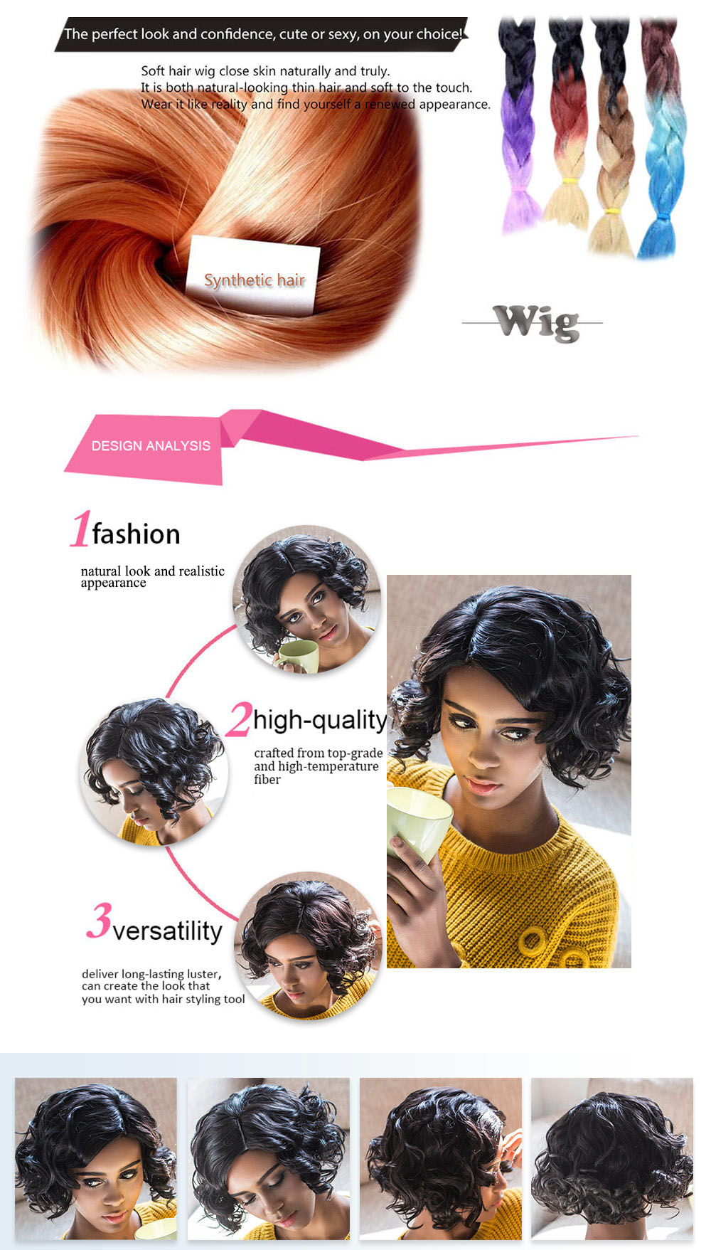 AISIHAIR Short Curly Side Parting Heat Resistant Synthetic Black Wigs for Women