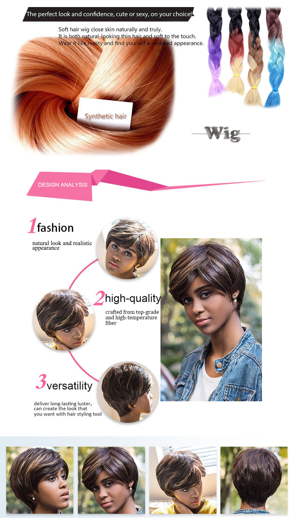 AISIHAIR Women Short Straight Mixed Colors Side Bangs Synthetic Wig Natural Dyeing Hair Style